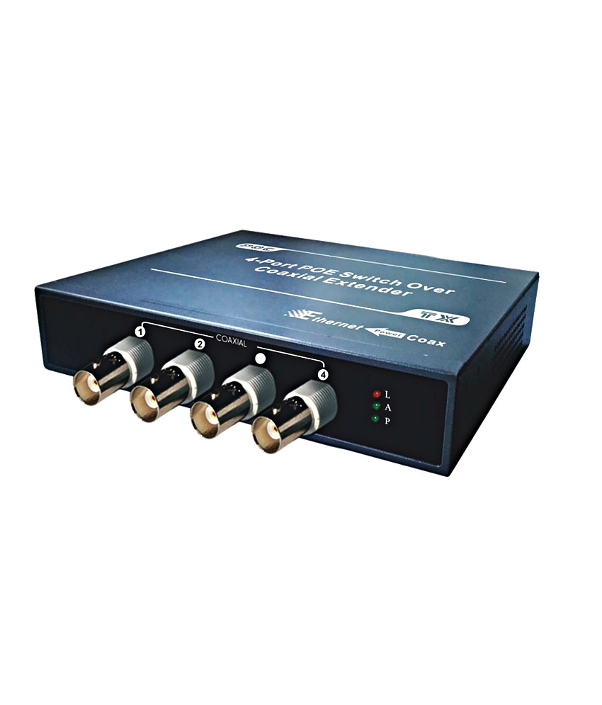 Folksafe FS-EPOC7004T-POE 4-CH Ethernet UTP CAT 5/6 IP Over Coax Cable Receiver Extender Converter
