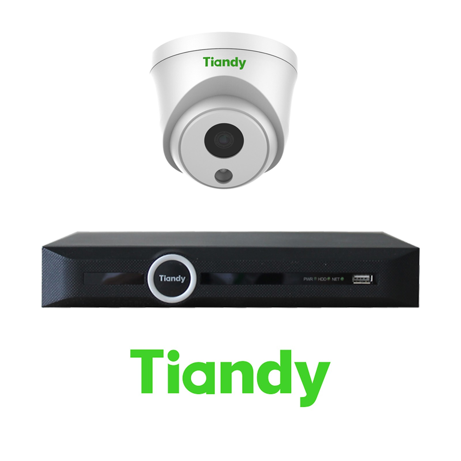 Tiandy 2MP 4-8-16 IP Camera KIT Bundle Complete Turret 4MM CCTV System 1080P 5CH 10CH 20CH NVR Cables Monitor 1-20TB HDD