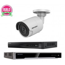 Hikvision 5MP 1-8 IP Camera Kit Bundle Complete Mini Bullet CCTV System H.265 4K UHD 4CH 8CH NVR Cables Monitor 1-20TB HDD