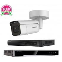 Hikvision 5MP 1-8 IP Camera Kit Bundle Complete Bullet Motorised Lens 2.8-12MM CCTV System H.265+ 4K UHD 4CH 8CH NVR Cables Monitor 1-20TB HDD